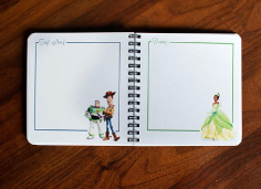 Disney autograph book with Buzz Lightyear, Woody and Princess Tiana