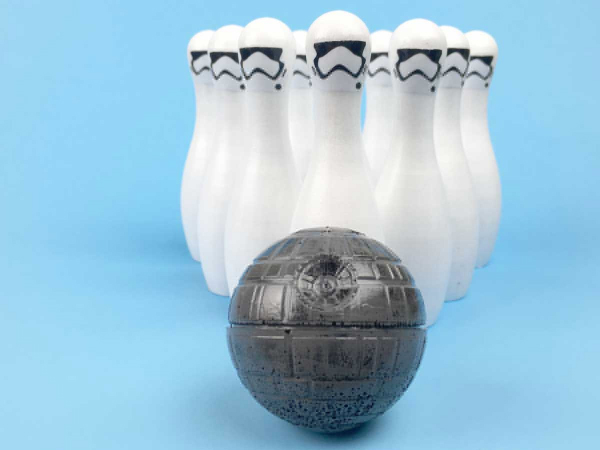 storm trooper bowling pins and death star bowling ball