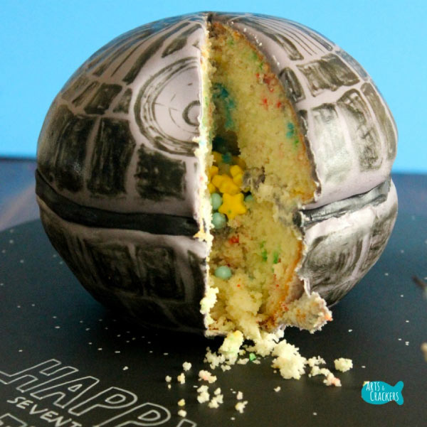 candy-filled Death Star cake