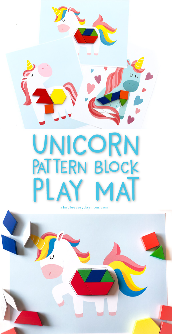 Unicorn Pattern Block Mats | Use these unicorn tangram printables for preschool or kindergarten math time. They're great for teaching skills like fine motor skills, patterning, shape recognition and more! 