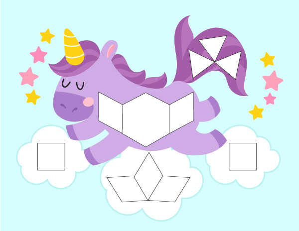 purple unicorn tangram mat