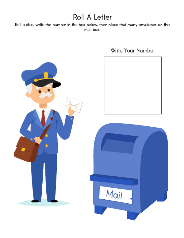 Community Helper Activities | This printable game features a mail man and helps teach kids number recognition and one to one counting.