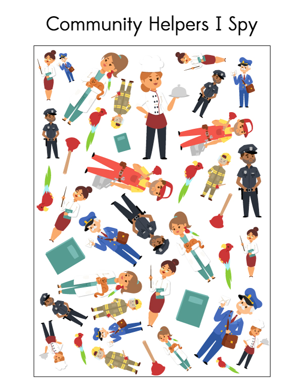 Community Helpers I Spy | This printable i spy features firefighters, police officers, plumbers, chefs, veterinarians and mail carriers. #printablesforkids #preschool #kindergarten