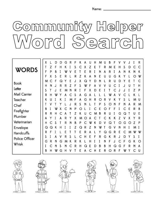 Community Helper Word Search | Fun and educational printable activities for kids.