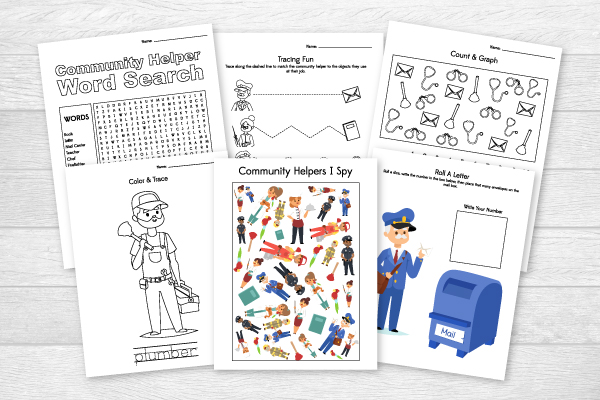 printable community helpers worksheets for kindergarten and first grade