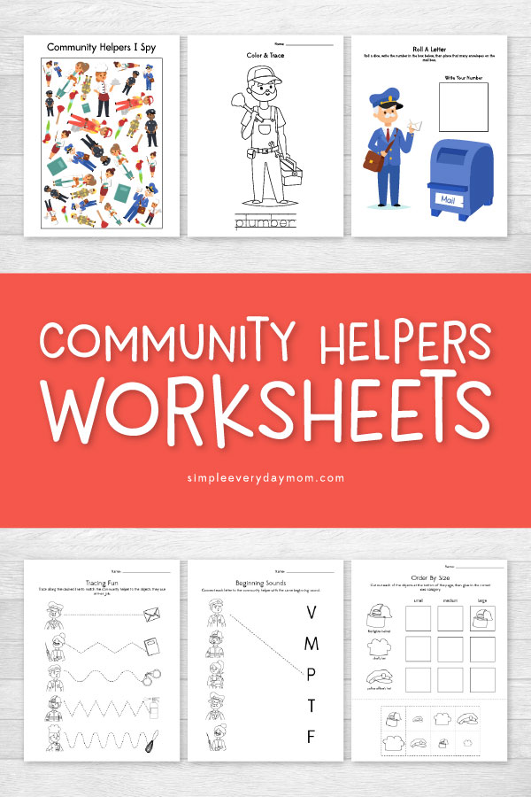 Community Helpers Worksheets | These printable worksheets are great for preschool, kindergarten or first grade. They contain lots of different activities kids will enjoy and learn from too! #communityhelpers #printablesforkids #kidsactivities #activitiesforkids