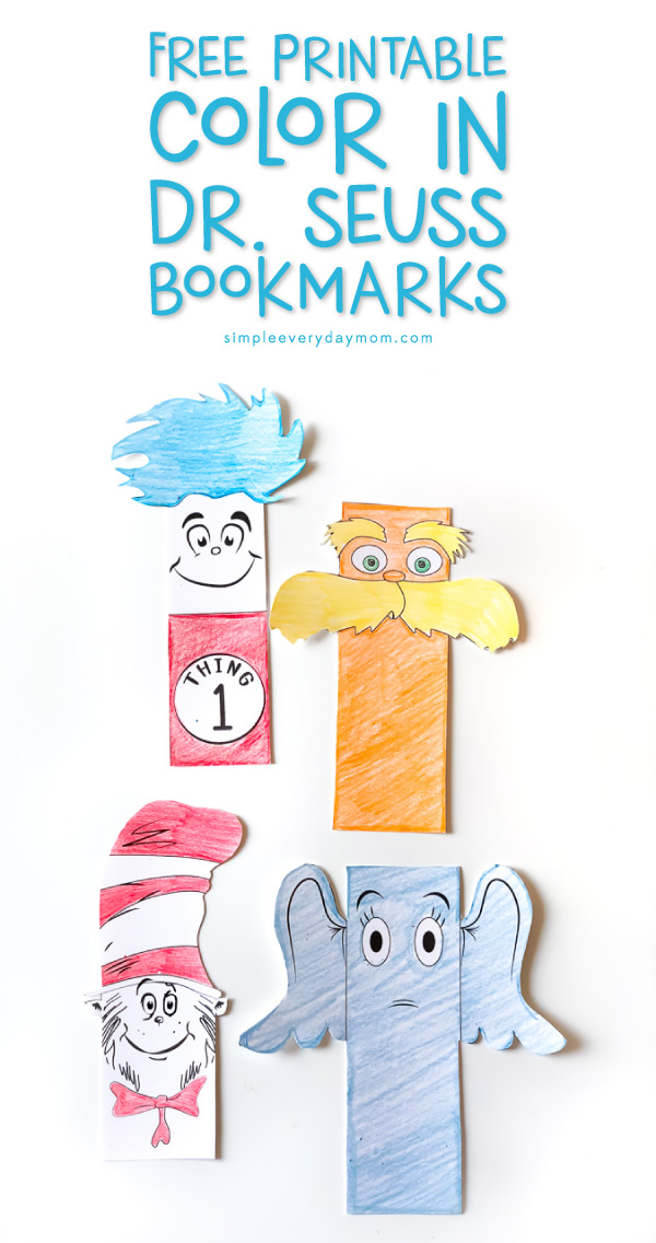 Thing 1, The Lorax, The Cat in the Hat and Horton paper bookmarks