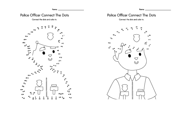 Community Helpers Printables: Police Officer Dot To Dot | Young kids will love learning about police officers and doing this fun connect the dots activity. #communityhelpers #kidsactivities #kindergarten