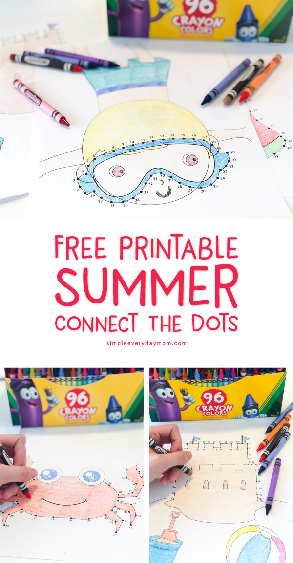 Summer Connect The Dots | These coloring sheets are perfect level for preschoolers or kindergarteners and beyond.