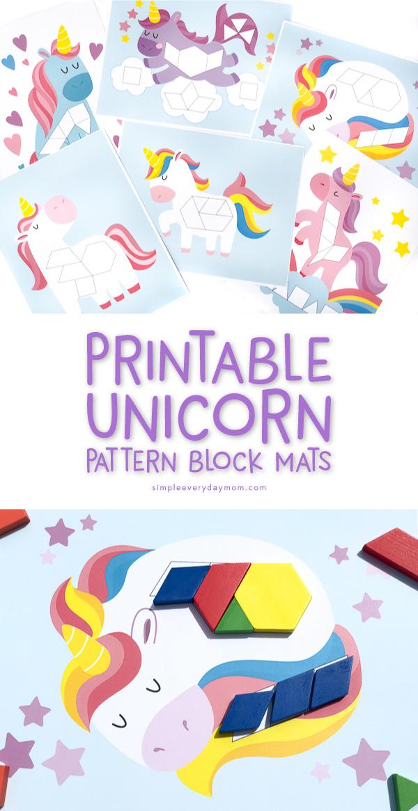 two photos of unicorn tangram mats