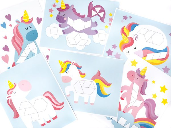 printable unicorn tangram mats