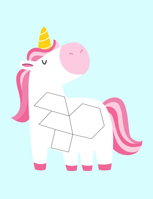 white unicorn pattern block mat