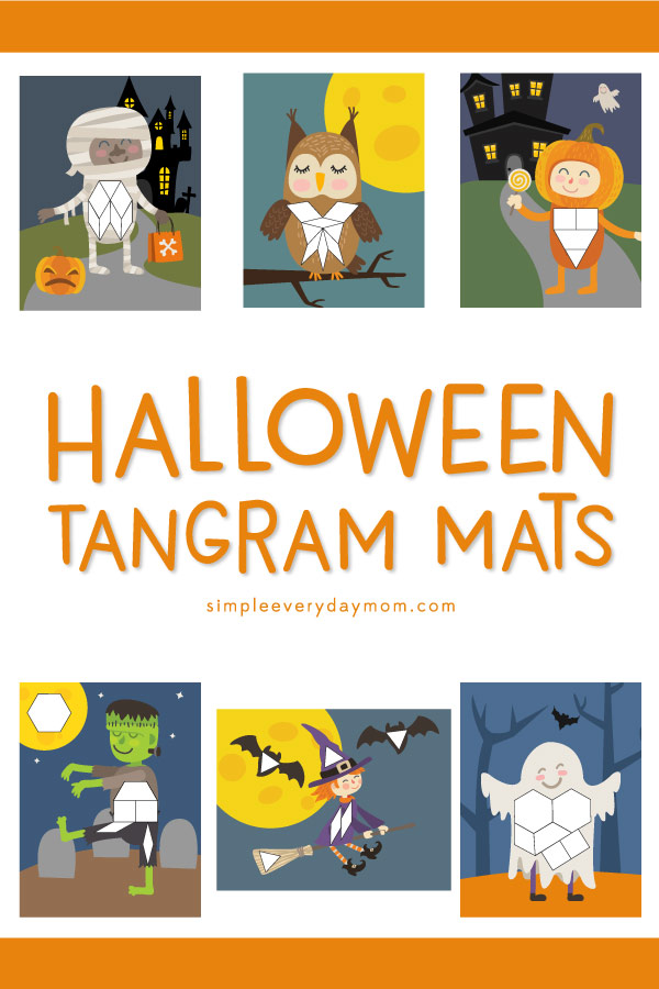 Halloween Tangrams | Kids love using these pattern block mats that feature a mummy, owl, pumpkin boy, Frankenstein, witch and ghost. #halloween #kids #learningactivitied #preschool