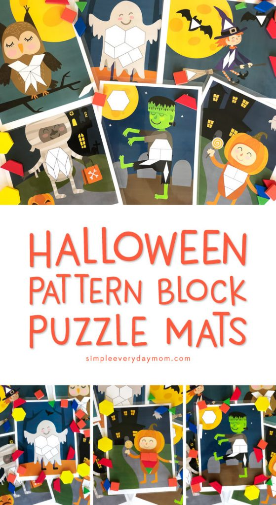 Halloween Learning Activities For Kids | Introduce young kids to important math concepts with these printable pattern block mats. #earlychildhood #halloween #ideasforkids #kidsandparenting
