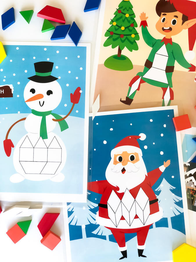 Christmas Tangram Mat | Download this set of pattern block mats that include Santa Claus, Mrs. Claus, a snowman & elf! #kids #childrenplay #learningthroughplay #kidsandparenting