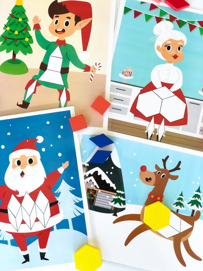 Christmas Pattern Block Mat Printables #christmas #preschool #kindergarten #elementary #ideasforkids