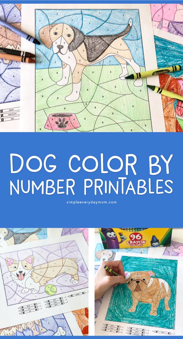 Dog Color By Number Worksheets | This is such a fun activity that mixes art, creativity, number recognition and more! Love this boredom buster!!