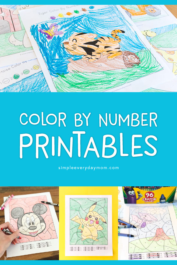 Color By Number Worksheets | Kids in kindergarten, pre-k and first grade will love this fun collection of color by number pages. There's a variety of skill levels from easy to more difficult and even some that reinforce math skills with addtion and subtraction! Click through to see them all #coloring #kidsactivities #printablesforkids #elementary #teachers