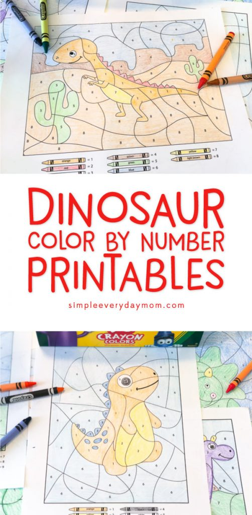 Dinosaur Color By Number Printables | Kids of all ages will love discovering the hidden picture inside these worksheets. They're a great quiet time art activity that's mess free and no prep! Click through to download your copy now. #dinosaurs #kidscrafts #colorbynumber #activitiesforboys