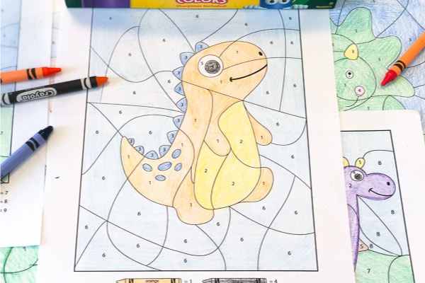 Dinosaur Color by Number Worksheets