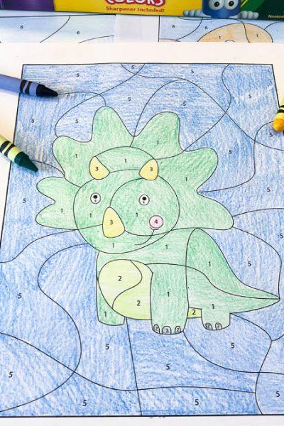 dinosaur color by number worksheet