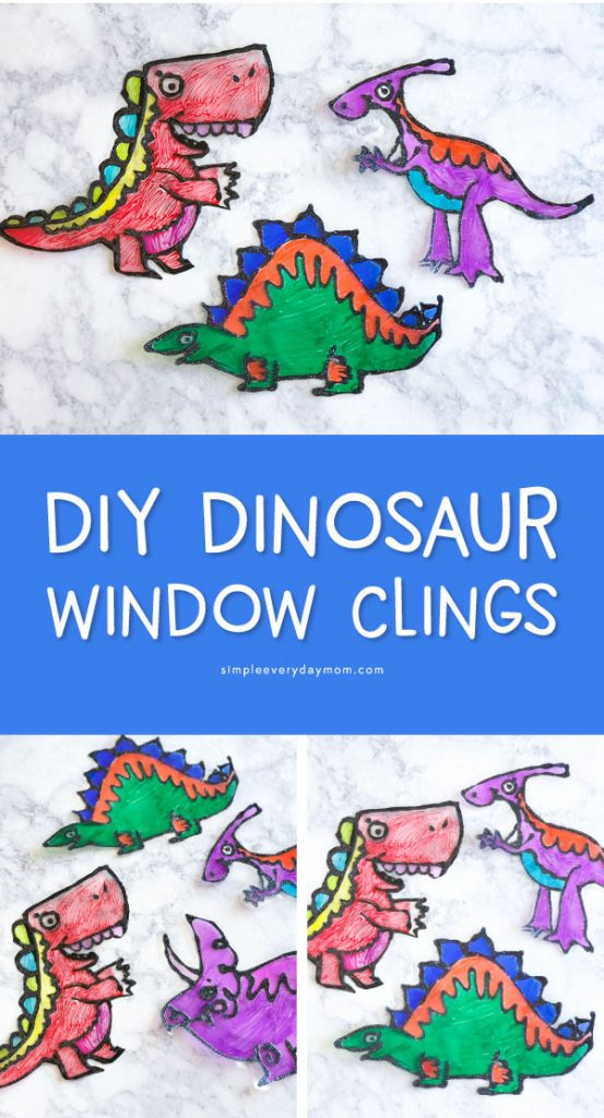 Dinosaur Kids Crafts   Have your dino loving boys and girls make these easy, cheap and fun DIY suncatchers. They're the perfect summertime boredom buster. #kidscrafts #craftsforkids #ideasforkids