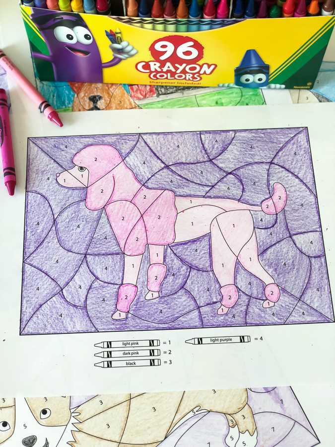 Dog Coloring By Number Worksheets | These educational color by number worksheets are a simple and easy activity kids can do whenever boredom strikes! #elementary #kidsactivities #activitiesforkids #coloringpages #artforkids