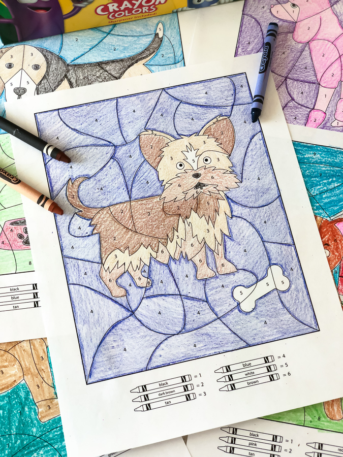 Dog Coloring Pages | These dog color by number printables are a great learning activity for kindergarten, preschool, homeschool and more! #prek #preschool #kindergarten