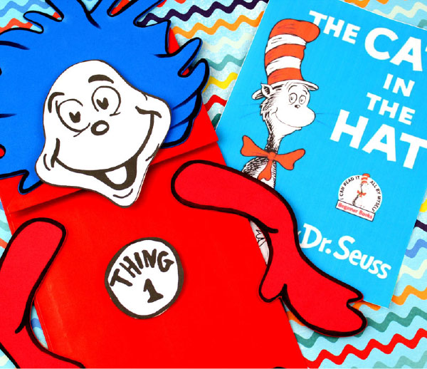 free printable dr seuss thing 1 & thing 1 puppets