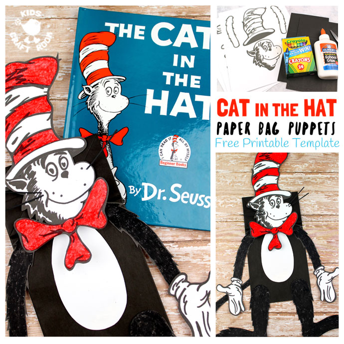 Free printable cat in the hat puppet