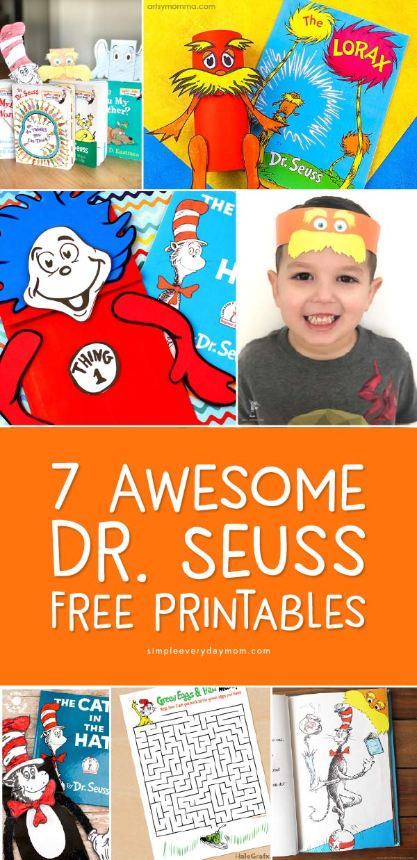 Dr. Seuss Free Printables | Kids will love doing these Dr. Seuss inspired crafts, worksheets and activities! They include some of their favorite characters including Thing 1 & Thing 2, The Lorax, Horton, and the Cat in the Hat.