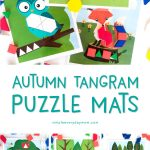 Fall Animal Tangram Mats | Download these printable puzzle block mats that help introduce kids to math concepts like shapes, pattern, symmetry and more! #teachingmath #stem #steam #kidsactivities
