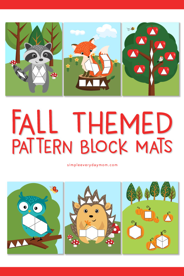 Printable Pattern Block Mats | These autumn tangram puzzles are a great preschool, pre-k or kindergarten activity for young kids. #preschoolactivities #teachingmath #kindergarten #educationalactivities