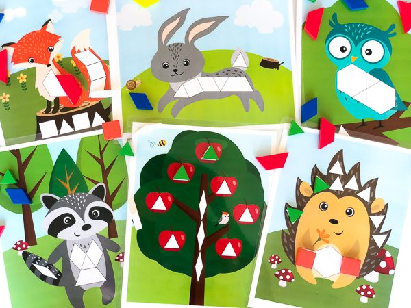 Fall Tangram Mats | Kids will love celebrating autumn with these adorable woodland animal pattern block mats. #earlychildhood #preschoolactivities #teachingkindergarten