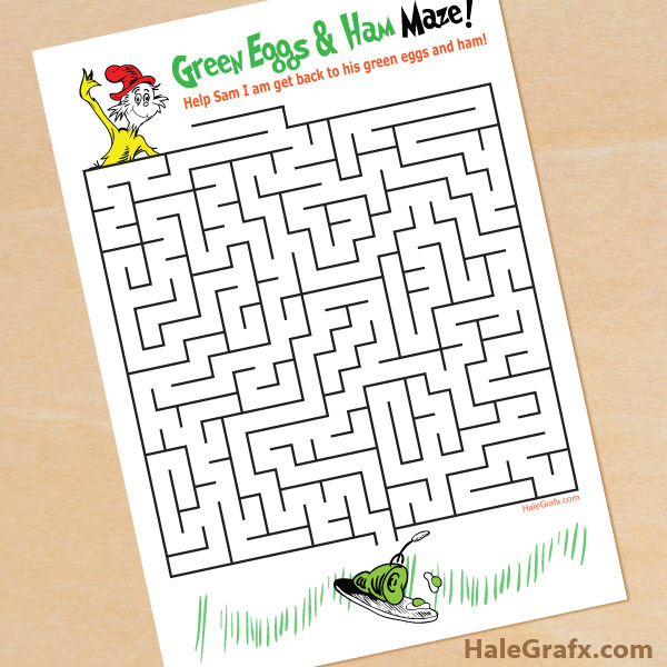 free printable green eggs and hand maze for kids