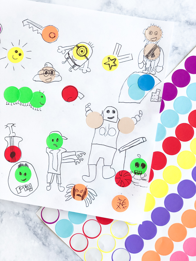Kids Art Idea | Let your child's imagination run wild with this easy and fun drawing activity. All you need are dot stickers, pen and paper and you're all sett for a simple yet awesome boredom buster! #kidsdrawing #art #drawing #creativekids #kids #children