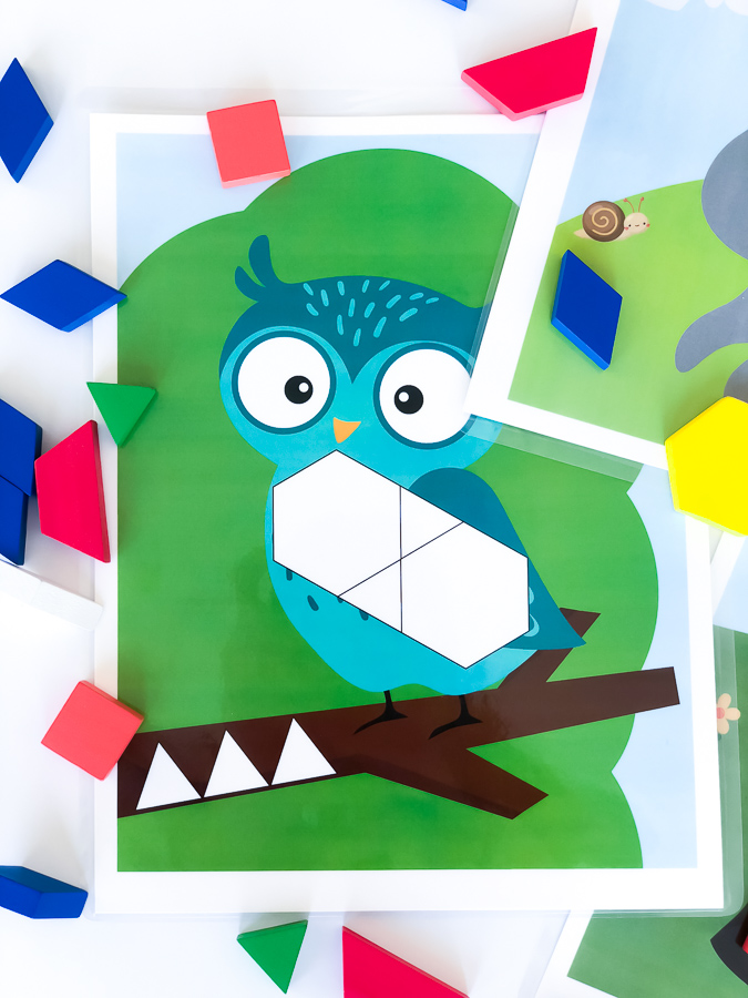 Owl Pattern Block Mat | Download this printable template for an owl and many others. They're a great preschool activity for the classroom or homeschooling. #kidsactivities #ideasforkids #homeschool #homeschooling