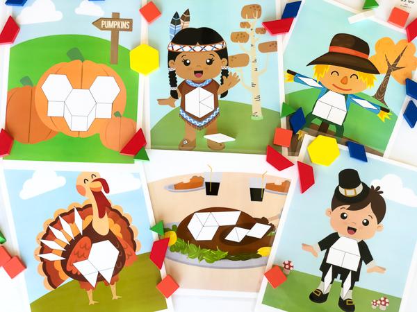 printable Thanksgving pattern block mats