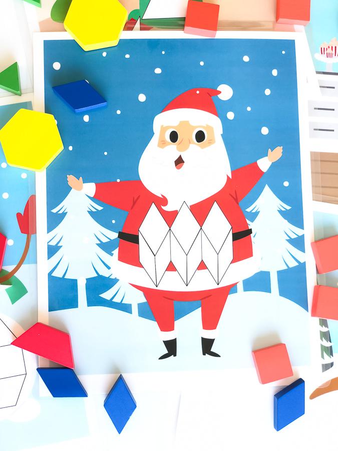 Christmas Tangram Mat | Download these printable pattern block mats. They're great for preschool and kindergarten aged kids. #preschool #kindergarten #teaching #firstgrade