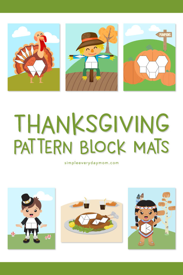 Thanksgiving Pattern Block Mats | This Thanksgiving math activity for kids is a great hands on STEM idea that young kids in preschool or kindergarten will love. #stem #math #teachingmat #homeschool