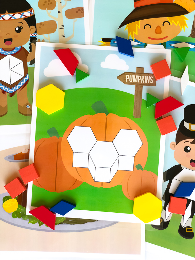 Thanksgiving Learning Activity For Preschool | Give your kids a hands on math activity with these printable pattern block mats. #kidsactivities #steam #thanksgiving #math #preschool