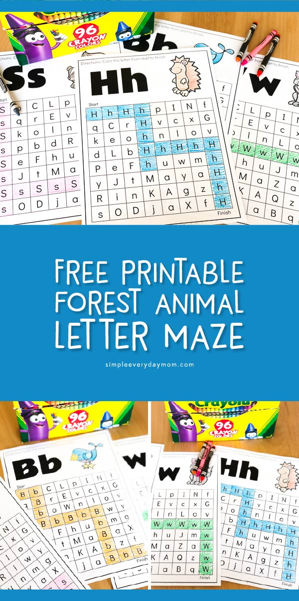 Free Printable Forest Animal Alphabet Maze | These worksheets are a fun way to help kids (or students) recognize the letters of the alphabet. #kidsactivities #preschool #kindergarten #educationalactivities #kidsandparenting #homeschool #kidsideas