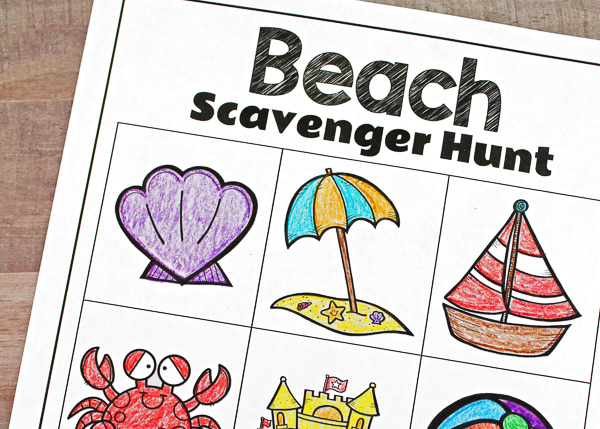 beach scavenger hunt list