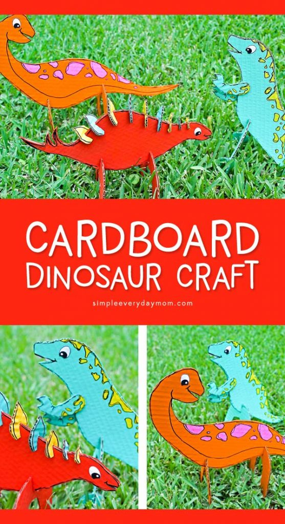 Cardboard Dinosaur Craft For Kids | Kids will love making their own DIY dinosaur toys! There's also a free printable template included! #dinosaurs #kidscrafts #craftsforkids #kidsactivities