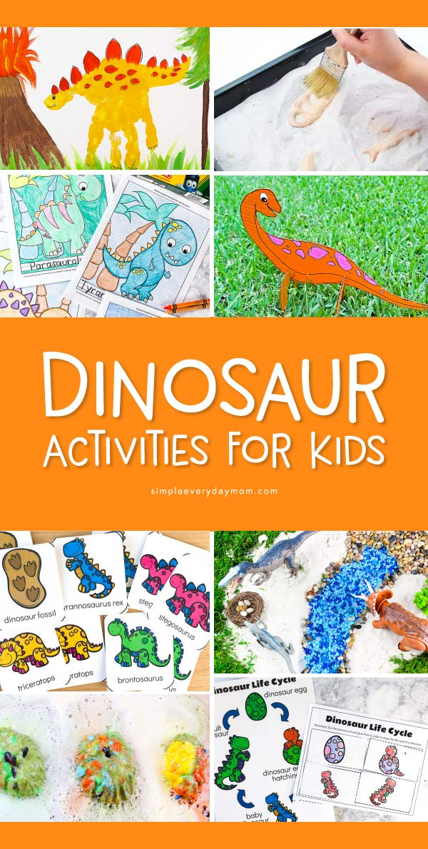 Dinosaur Activities For Kids | Boys and girls will love doing these fun, hands on dinosaur activities that include sensory bins, crafts, art projects, worksheets, coloring pages and more! #earlychildhood #preschool #kindergarten #dinosaurs #teacher #kidsactivities #kidsandparenting