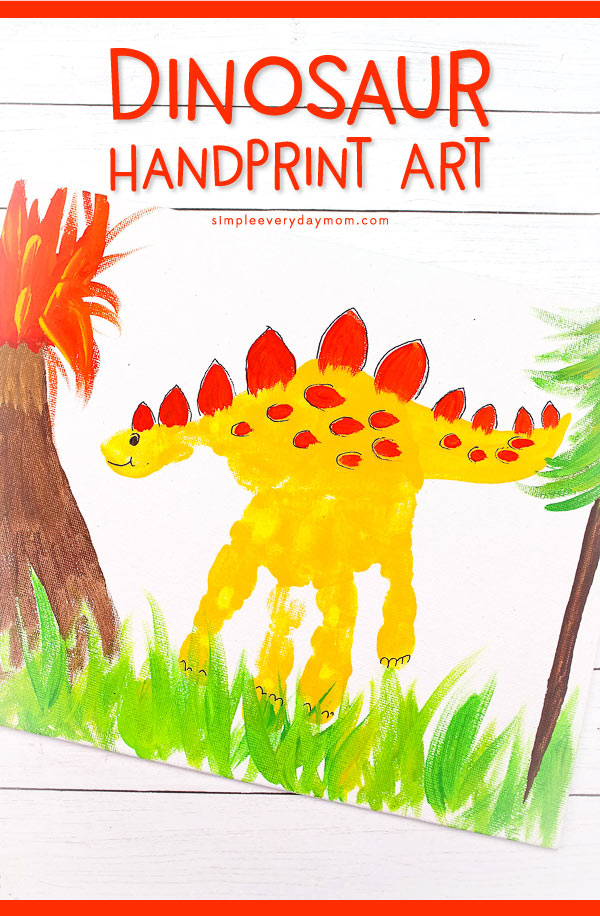 Dinosaur Art Project For Kids | Young children in preschool and kindergarten will love this simple dino hand print art idea. #preschool #kindergarten #earlychildhood #kidsactivities #craftsforkids #kidscrafts