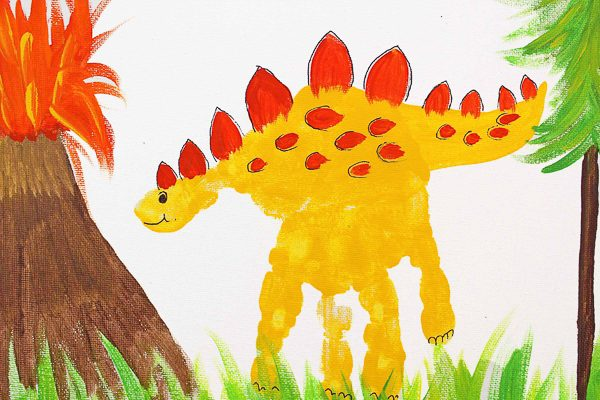 Dinosaur Hand Print Art Idea For Kids