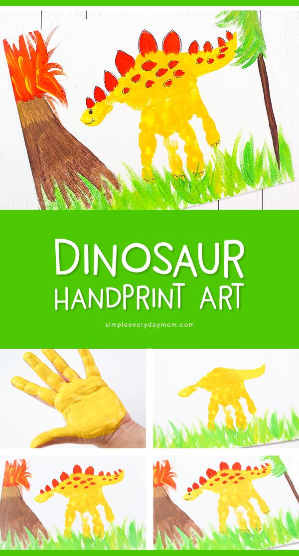 Hand Print Dinosaur Art | Learn how to make this cute dinosaur painting. It's a great creative project for boys and girls learning all about dinosaurs.   #earlychildhood #kidsactivities #ideasforkids #sensoryplay #artforkids #teacher #teachingkindergarten #preschool #kids #children #kidsart
