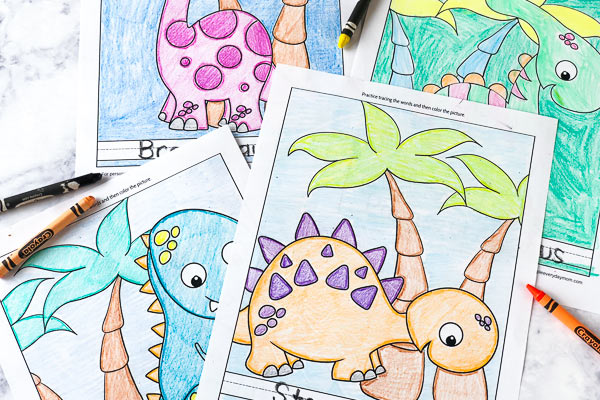 Free Dinosaur Coloring Pages For Kindergarten | Kids will love coloring in their favorite dinos and teachers will love the handwriting practice. #dinosaurs #earlychildhood #worksheets #coloringpages