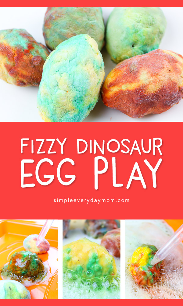 "Dinosaur Sensory Bin | Kids will have a blast ""hatching"" these baking soda dinosaur eggs with medicine droppers and vinegar. It's a great activity to work on fine motor skills! #stem #kidsactivities #kids #preschool #toddlers #kindergarten #sensoryplay #outdooractivities"